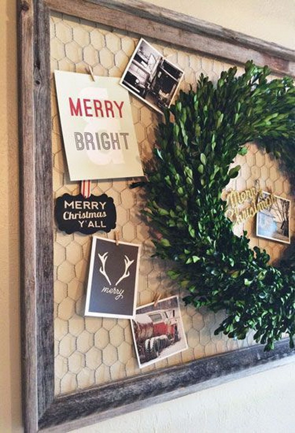 Repurpose the old frame for Christmas display.