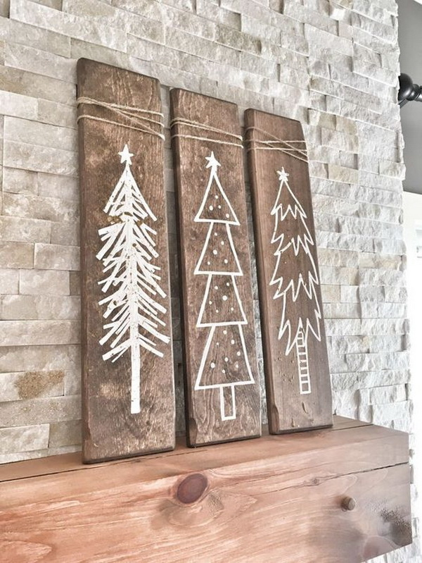 Rustic White Wooden Christmas Tree Signs.