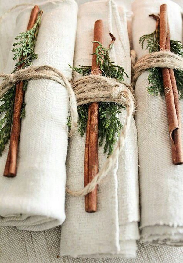 Rustic Christmas table settings.