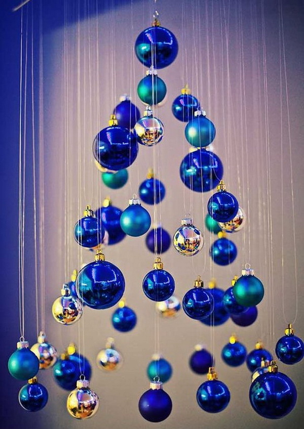 blue christmas decorating ideas - Christmas Ball Decoration Ideas