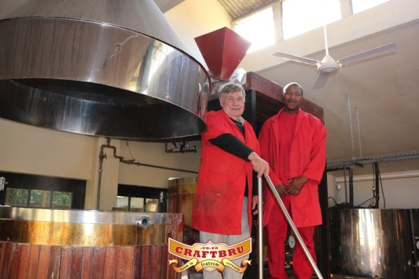 Old Main Brewery's Brewer Paul Simms and Brewing Assistant Shedrick Madondo
