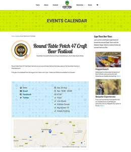 An example of the Round Table Potch 47 Craft Beer Festival's listing