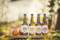 Bottles of Loxtonia Cider with apples, Western Cape, South Africa