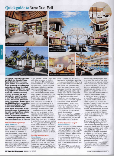 Grand Nikko Bali public relations agency client rebranding case study media coverage in Time Out Singapore magazine