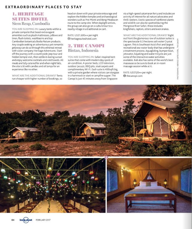Heritage Suites Hotel luxury travel pr case study media coverage - Lonely Planet magazine