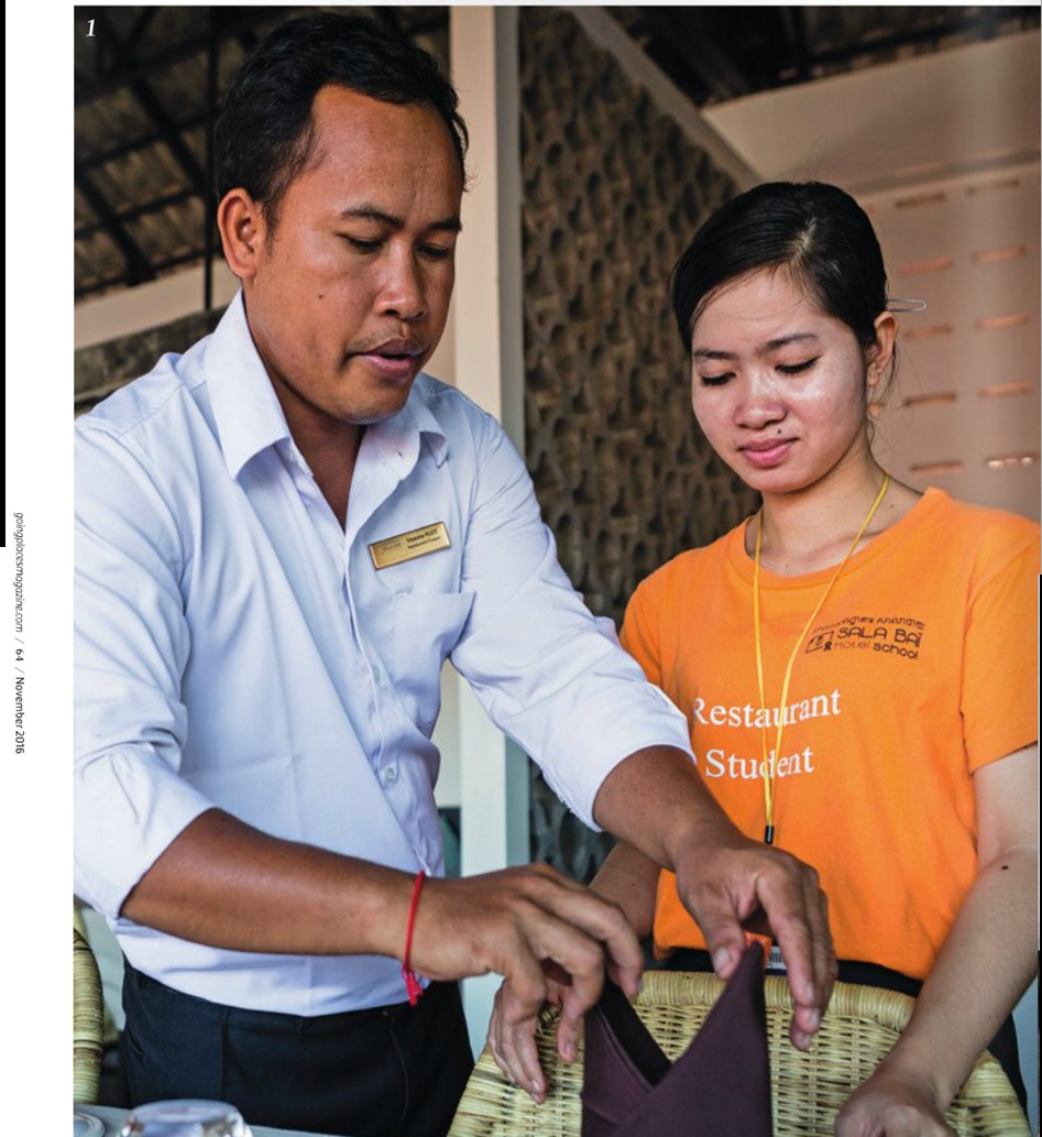 Heritage Suites Hotel luxury travel pr case study media coverage - Going Places (Malaysia Airlines inflight magazine) - teacher and student at Sala Bai hospitality school