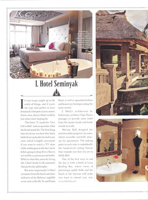 Travel public relations agency client L Hotel Seminyak featured in Robb Report - photos of room and bathroom