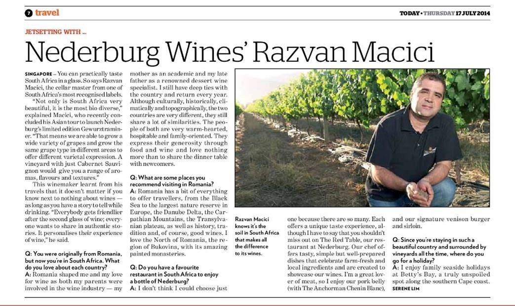 Craft Communications' PR agency client Nederburg - Wine PR - winemaker Razvan Macici featured in TODAY Singapore; kneeling on one knee in a vineyard