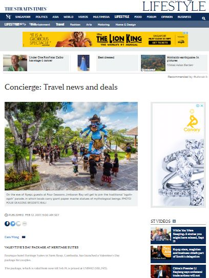 Heritage Suites Hotel luxury travel pr case study media coverage - The Straits Times, Singapore