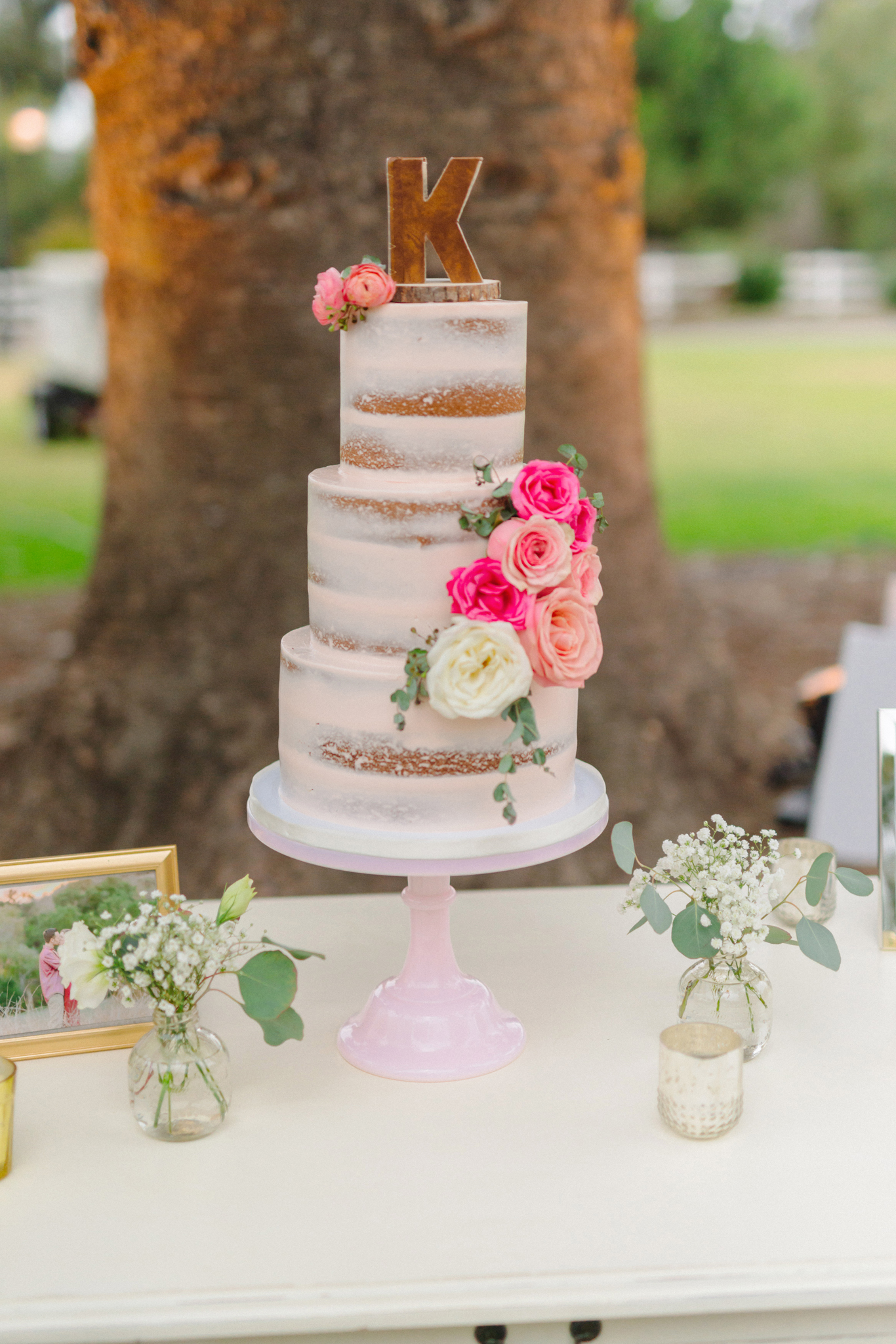 Pink Naked Wedding Cake Topper