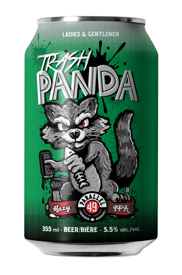 Steve Kitchen Trash Panda craft can design for Parallel 49 Brewing, Vancouver