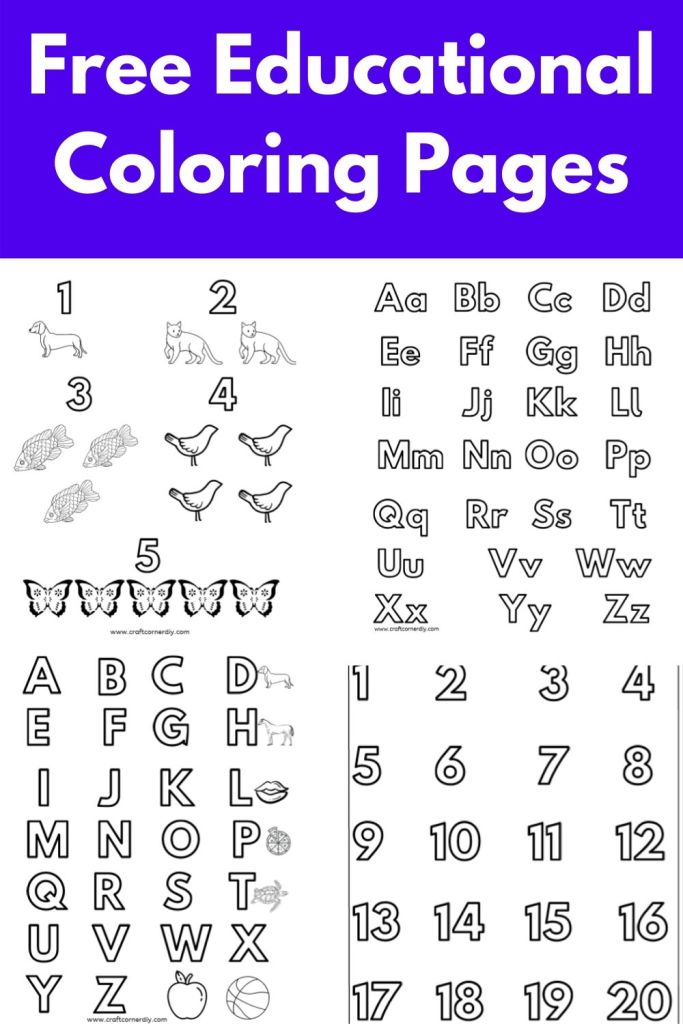 Free Alphabet And Number Educational Coloring Pages Craft Corner Diy