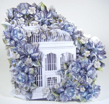 Blue Porcelian Birdcage Front View