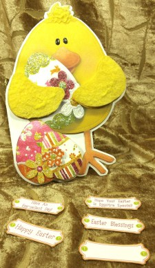Easter Chick Shaped card w Tag options