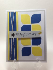 Blue and yellow male card