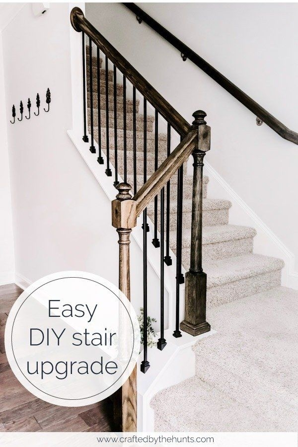 Cheap And Easy Diy Stairs Makeover Crafted By The Hunts | Diy Metal Stair Railing | Outdoor | Exterior | Beginner | Indoor | Metal Baluster Drywall
