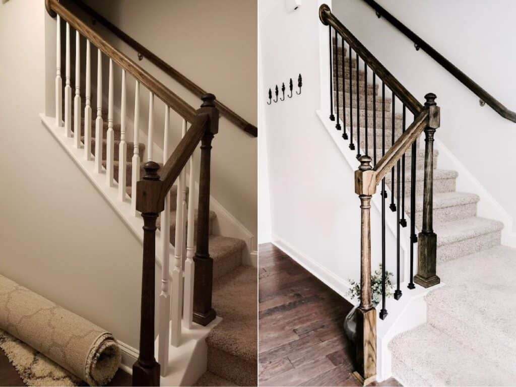 Cheap And Easy Diy Stairs Makeover Crafted By The Hunts   Replacing Wood Balusters With Iron   Staircase   Stair Spindles   Stair Parts   Handrail   Stair Railing