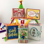 5 projects in Birthday Memories Class FREE with $50 purchase at www.lyndafalconer.stampinup.net in Feb 2018 using Host Code F2PYESJF