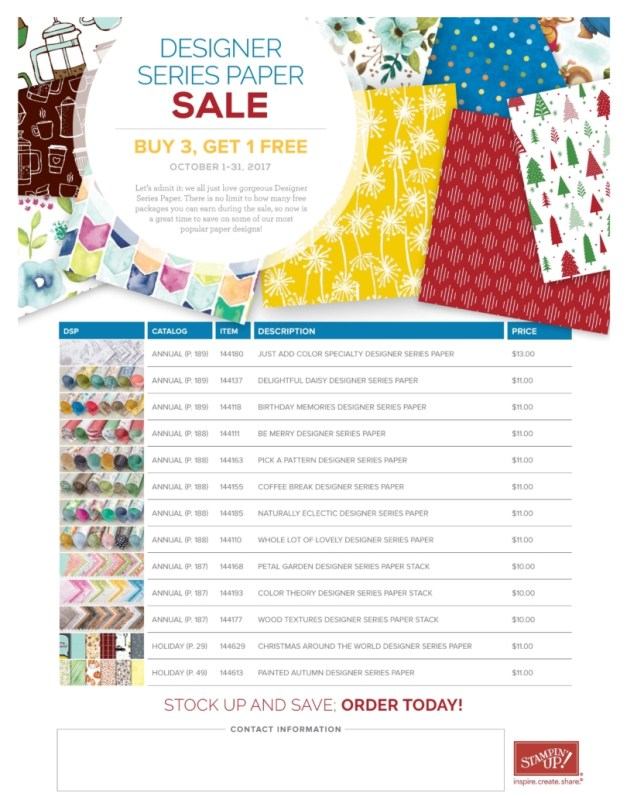 Stampin Up Paper Sale in October 2017 - Buy 3 get 1 free on these sets