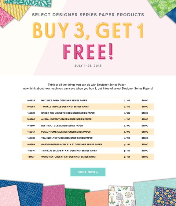 Buy 3 packs of Stampin' up Select Designer Paper and get 1 free in July!