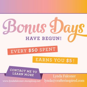 Get $5 Coupon for every $50 you spend on Stampin' Up Products in August 2018 at www.lyndafalconer.stampinup.net.