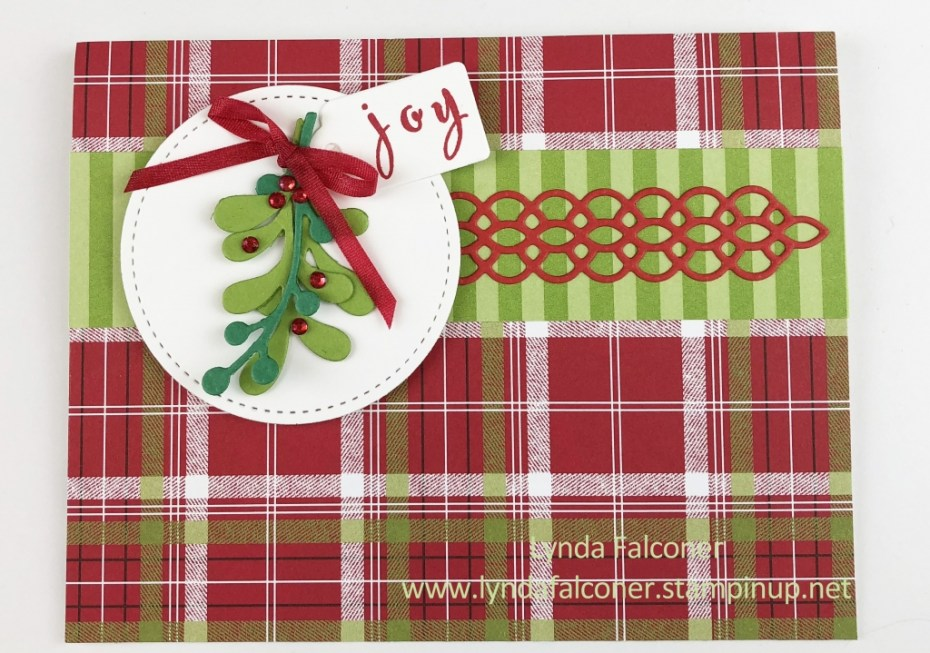 Christmas Card using Under the Mistletoe DSP #146921 and Pretty Pines Thinlits #141851 at www.lyndafalconer.stampinup.net