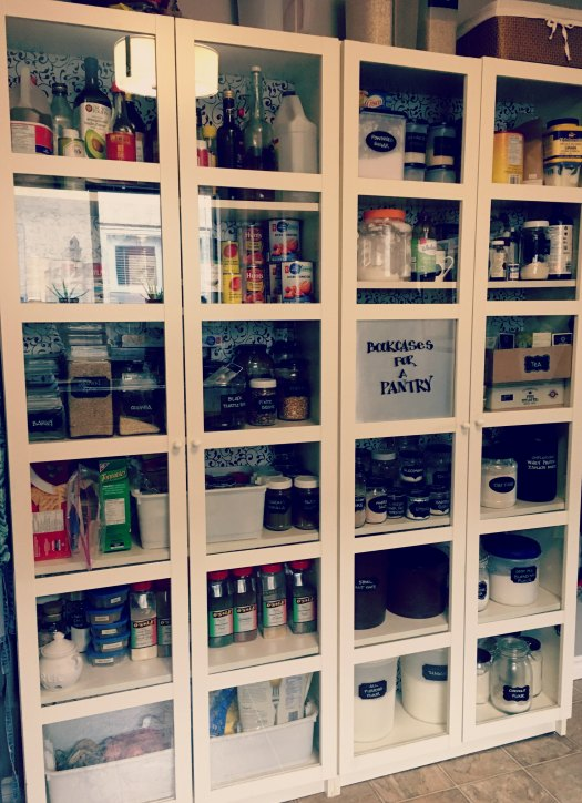 Real life pantry with re-purposed glass jar storage