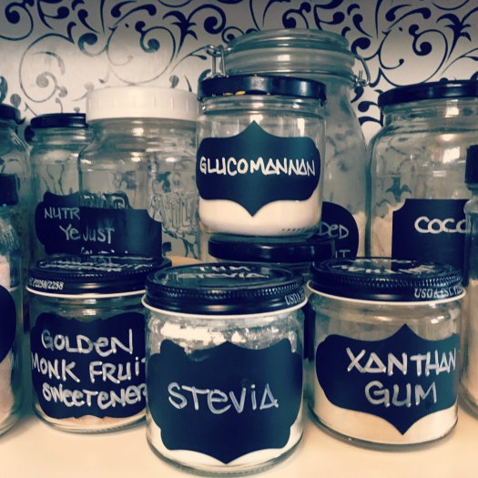 Great re-purposing idea! Chalkboard labels on re-purposed glass jars!