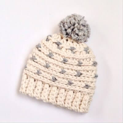 Chunky knit-look crocheted hat pattern with pompom