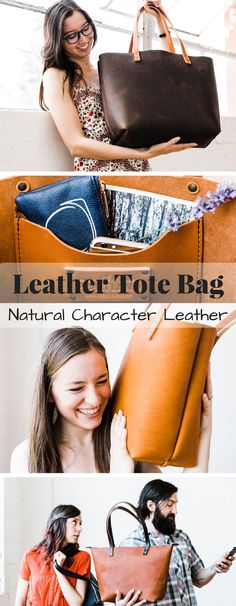Gorgeous natural character leather tote bag. Different sizes and colors available... isn't this beautiful, now which color to choose!?!? Check out all of craft evangelist's mother's day gift suggestions.