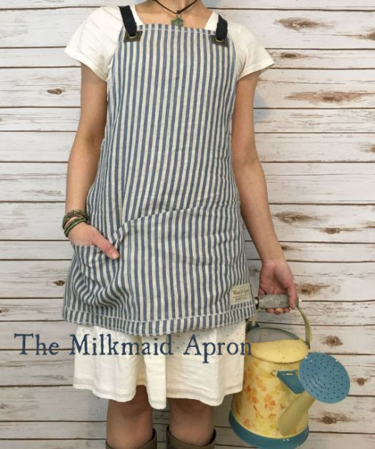 The Milkmaid Apron. Great all-purpose linen apron for gardening, collecting eggs from chickens. Vintage cross back linen apron with deep pockets