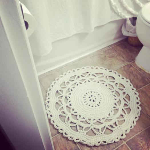 Beautiful doily rug made from recycled t-shirt yarn created by craft evangelist