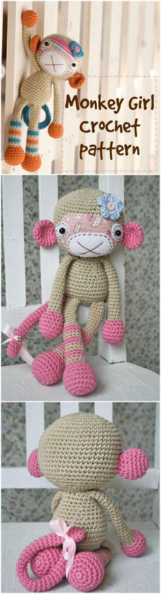 Cute little monkey girl crochet pattern to make! Love this adorable monkey amigurumi. Perfect handmade gift for a new baby! Check out all of craft evangelist's DIY toy finds!