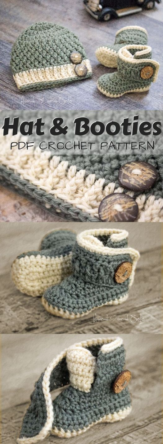 Adorable crochet pattern set for baby hat and booties. I love the cute button closure for the booties! Also, they look really practical, like they would open right up and be easy to put on! Looks like a simple, easy crochet pattern evven a beginner could handle! Check out all of craft evangelist's baby pattern finds!