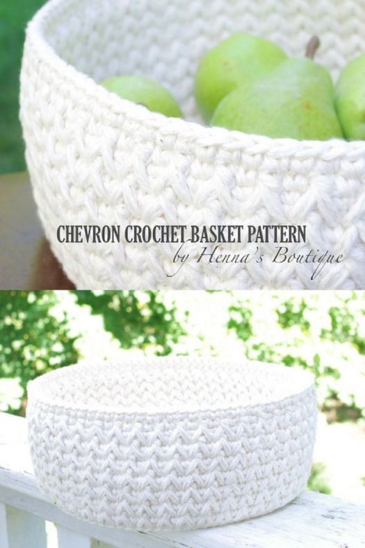 Gorgeous chevron crochet basket pattern! Love it in this subtle white! Lovely handmade decor storage option! Sweet fruit basket idea!