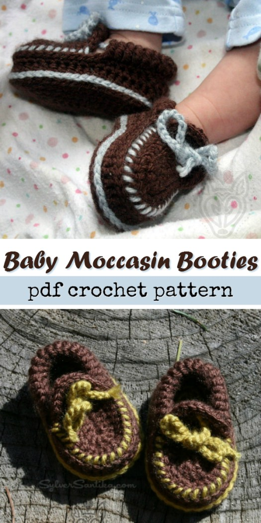 Adorable baby moccasin booties! This pattern has a tie that goes around the baby's ankle and keeps the booties on baby's feet! Perfect! Quick and cute pattern to crochet up! Check out craft evangelist's baby pattern finds