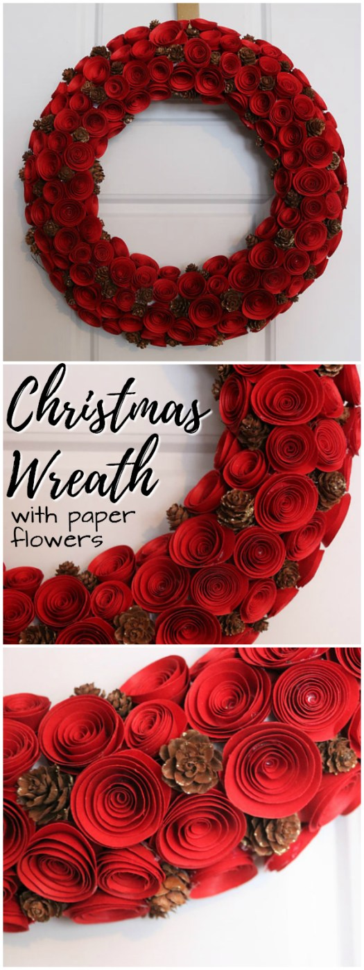Stunning Red Christmas wreath with paper flowers and pine cones! Lovely classy Christmas wreath! Check out all of craft evangelist's wreath finds for every month of the year!