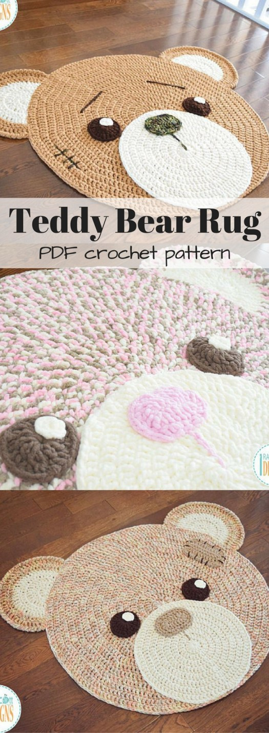 Classic Teddy Bear Crochet Rug PDF Pattern with Instant Download. This would look great in a nursery or kid's room and would make a fantastic baby shower gift!