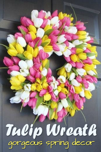 I love this beautiful tulip wreath, perfect for Mother's Day! Check out all of craft evangelist's wreath finds for every month of the year!