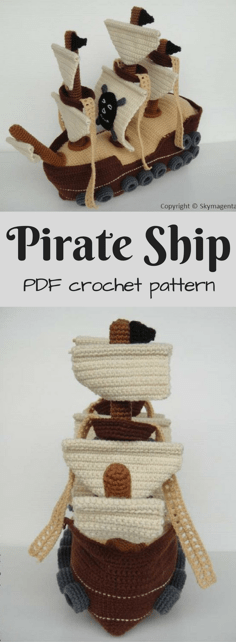 Awesome Pirate Ship Amigurumi crochet pattern to download! I love the detail on this lovely handmade toy pattern. Check out all of craft evangelists DIY toy finds!