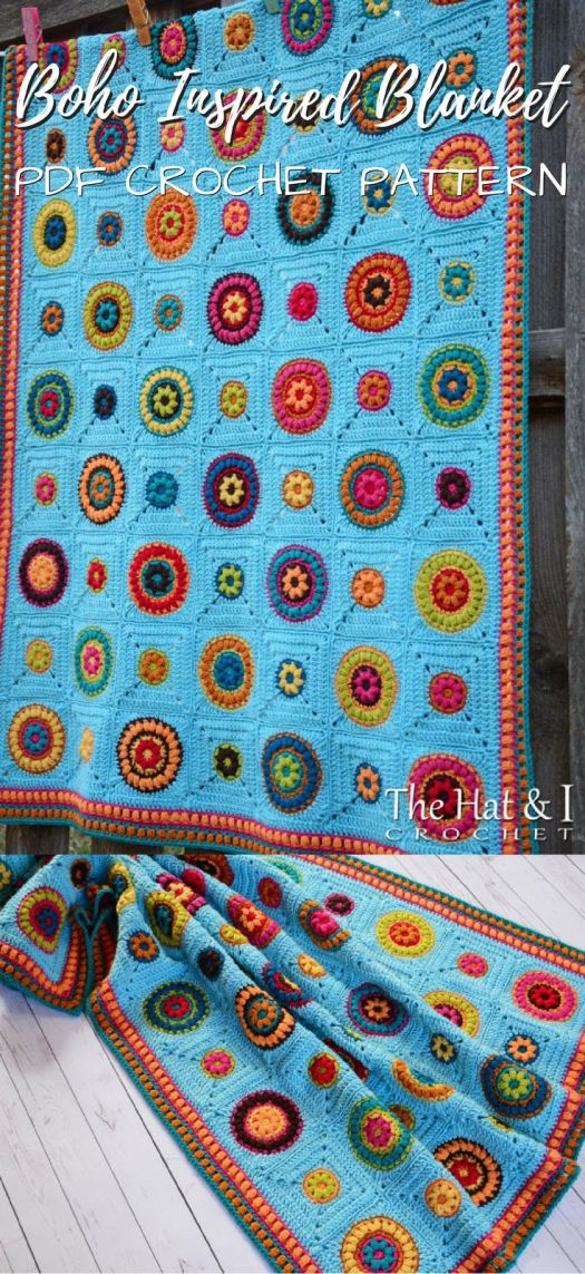 Boho Inspired Blanket PDF Crochet Pattern for sale on etsy. I love these bright colors in this fun granny square afghan crochet pattern