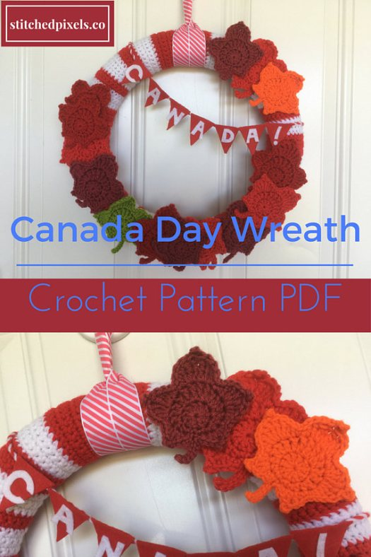PDF crochet pattern for this fun Canada Day wreath. Great craft to make for Canada Day! Check out all of craft evangelist's wreath finds for every month of the year!