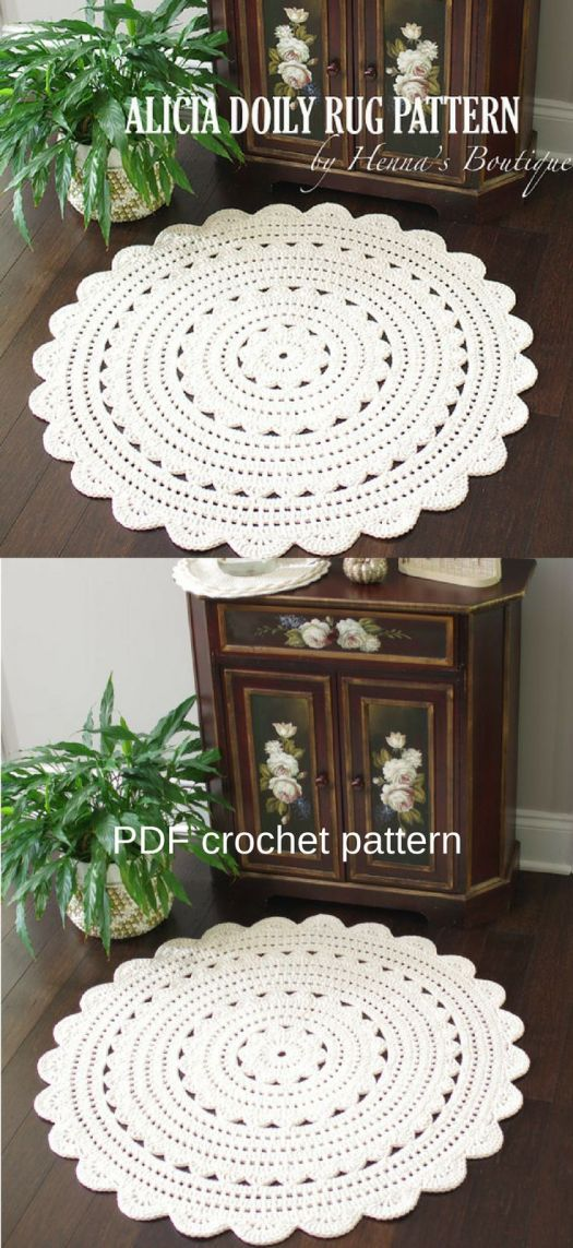 Beautiful crocheted rug pattern. These doily rugs look so cute! Love them! Make it yourself!