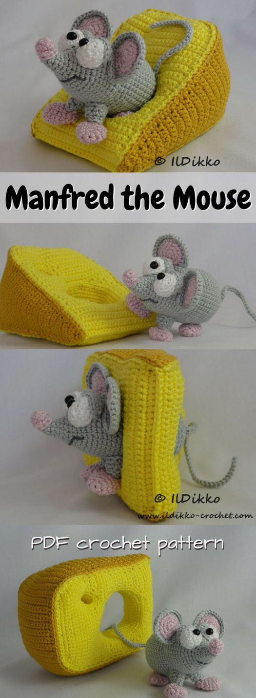Adorable little mouse amigurumi pattern with a wedge of cheese! So cute! I love creative toy crochet patterns like this! What a sweet cartoon mouse!