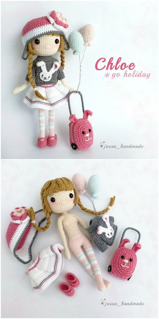 Love this sweet travelling doll crochet amigurumi pattern! She would make a great handmade gift for a child embarking on a trip! found by #craftevangelist