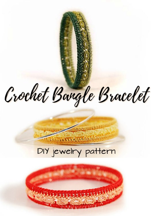 Check out this awesome crocheted bangle bracelet pattern! Make your own jewelry! I love this; so simple and gorgeous! Would make a perfect project for summer travel!