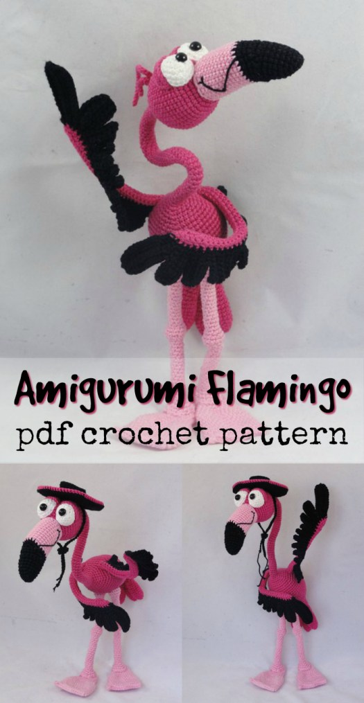 Gotta love this cartoony amigurumi flamingo crochet pattern! Such a fun crocheted toy to make! #crafevangelist