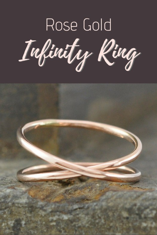 Gorgeous rose gold infinity ring. Great for a wedding band or anniversary gift. Love this delicate hand-crafted ring! Beautiful find on craftevangelist's summer top 10 Etsy picks! #craftevangelist