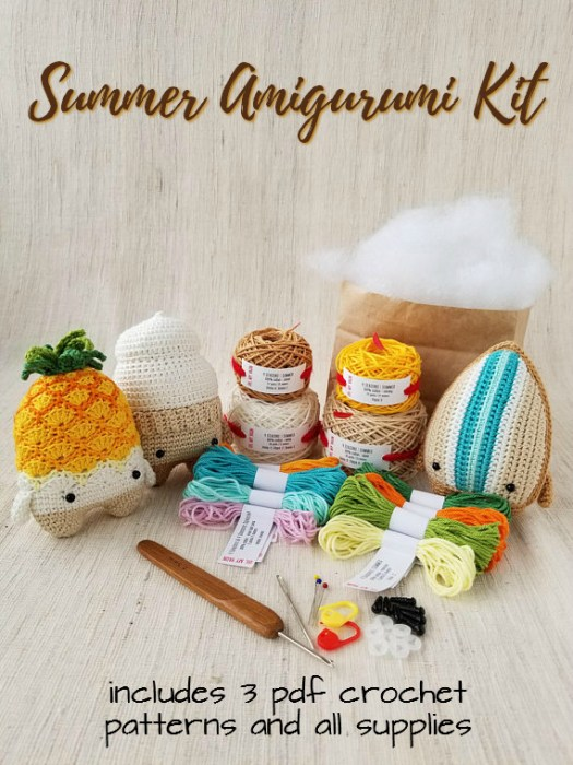 Sweet summer amigurumi kit with 3 patterns and all supplies. Super fun ice cream crochet pattern, surf board crochet pattern & adorable pineapple crochet pattern. Check out #craftevangelist's other pineapple crochet finds!
