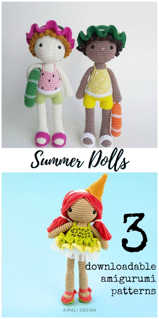 Three adorable amigurumi crochet patterns for summer themed dolls! Check out this round up by #craftevangelist
